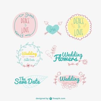 Рисованной свадебные и любовь значки