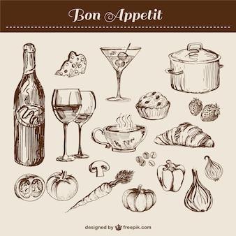 Рисованной линии искусства кухне пищевых элементов вектора