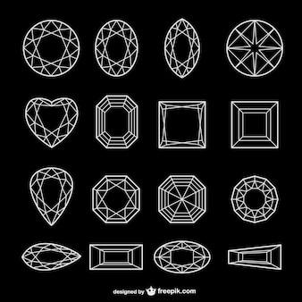 Все виды алмазов линии векторные