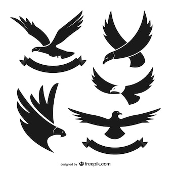 Черные силуэты орел