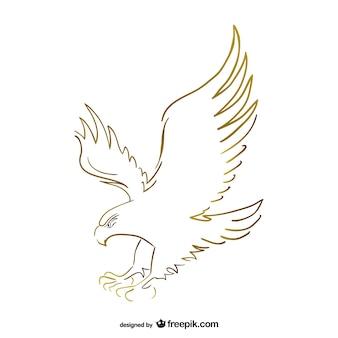 Летающий орел эскиз вектор