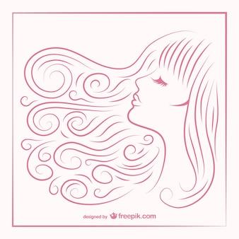 女の子の髪のスケッチ