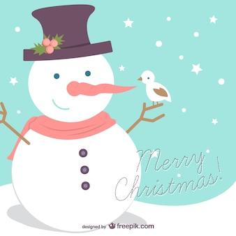Счастливого рождества фон с снеговика