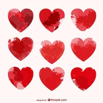 Векторные сердца с пятен краски