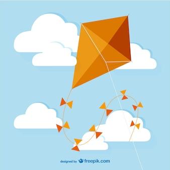 オレンジ色の凧ベクトル