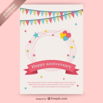 花輪と幸せ周年記念カード