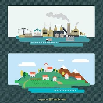 工業都市と自然景観ベクトル