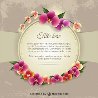 カラフルな蘭の花を持つテンプレート