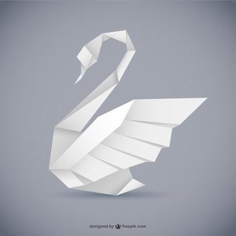 折り紙スタイルの白鳥ベクトル