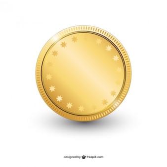 Блестящий золотой вектор монета