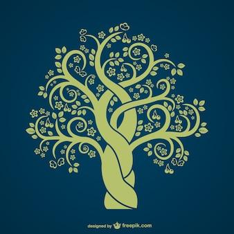 ヴィンテージ木のシルエット