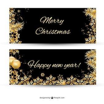 Веселый баннер рождество с позолоченными украшениями