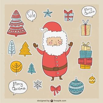 Симпатичные санта-клаус и другие элементы рождественские