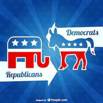 共和党と民主党のベクトル