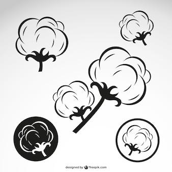 綿の花のアウトライン