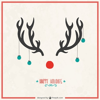 トナカイの角とクリスマスカード