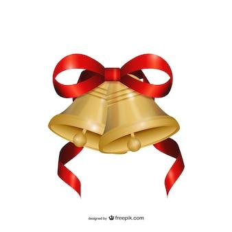 Рождественские колокола с красной лентой вектор