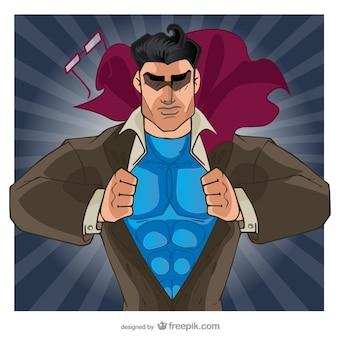 コミックのスーパーヒーローは彼のシャツを開く