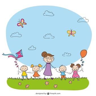 幼稚園描画ベクトル