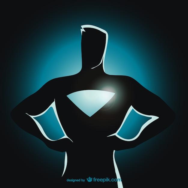 スーパーヒーローに立ってシルエット