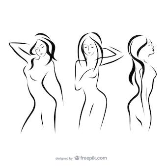 Женщины силуэты контурные