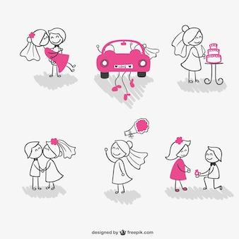結婚式のスティック図のカップル