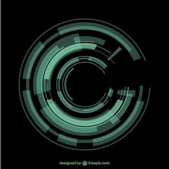 Зеленый круговой фоне техно