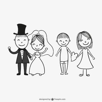 描画結婚式のカップル