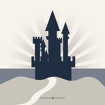 崖のベクトルの背景に城のシルエット