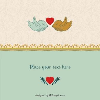 ロマンチックなバレンタインの鳥テンプレート