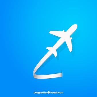 フライング飛行機のシルエット
