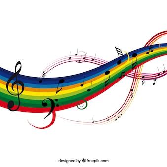 カラフルな音楽の背景、ベクトル、イラスト