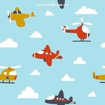 子どもたちのデザインのために飛んでいる漫画の飛行機
