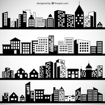 Черный городских пейзажей