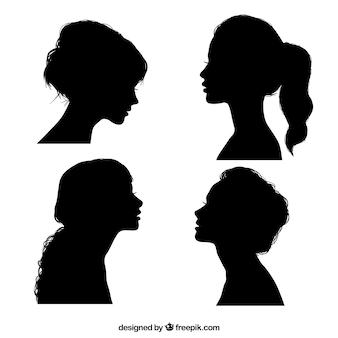 Черные силуэты девушки