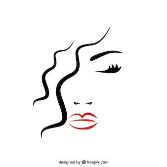 目を閉じて美しい女性の顔