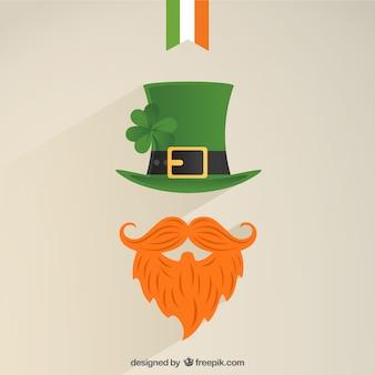 Значок лепрекон с зеленой шляпе и густой рыжей бородой