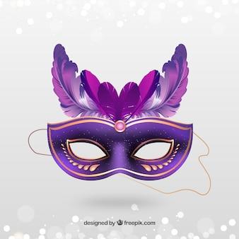 ピンクの羽を持つゴールデンカーニバルマスク