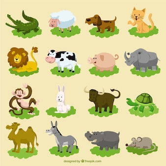 面白い漫画の動物のセット