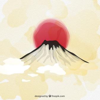 水彩画のスタイルで富士山