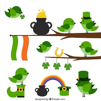 Симпатичные птицы для святого патрика день