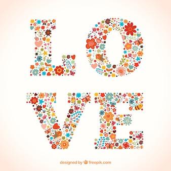 Слово любовь из цветов