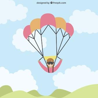Полеты на параплане в плоском дизайне