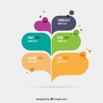 スピーチの泡とインフォグラフィック