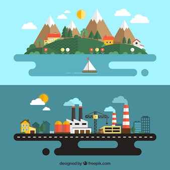 都市と農村の風景