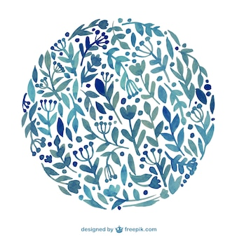 Цветочные круг в акварели стиль