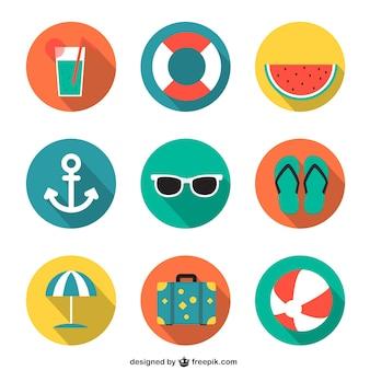 Летние иконки в красочный стиль