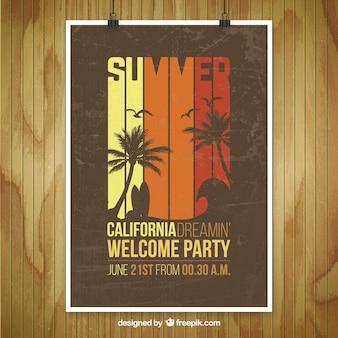 夏の党のポスターのモックアップ