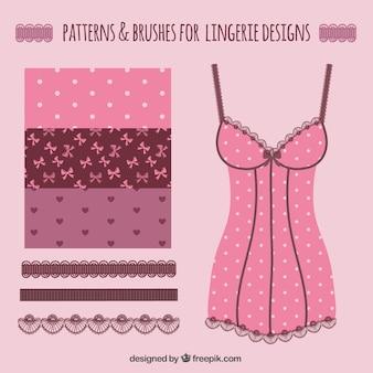 ランジェリーのデザインのためのパターンとブラシ