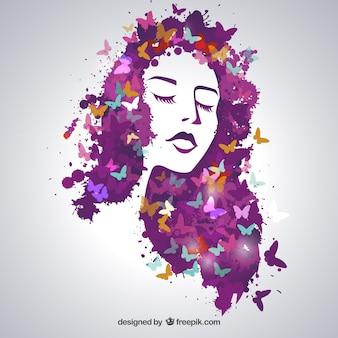 蝶の美しい女性